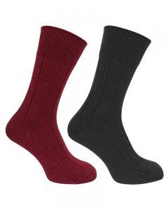 Hoggs Brogue socks - 2-pack vinröd/oliv