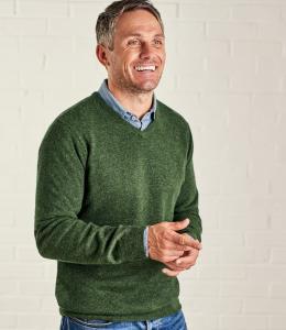 V-ringad tröja cashmere/merino - Cactus Green
