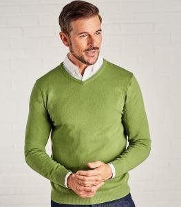 V-ringad tröja cashmere/merino - Pea Marl