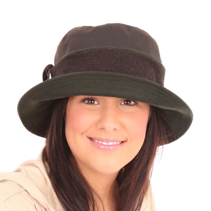 Women's 2 Tone Wax Hat With Wide Band brun