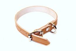 Halsband 40cm natur läder M