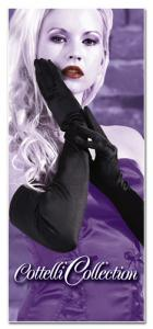 Satin Gloves Long Black