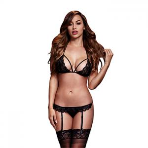 Baci - Black Lacy Bra Garter & Open Crotch Panty One Size