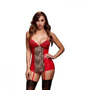 Baci - Red Basque & Garter Stays No Panty One Size
