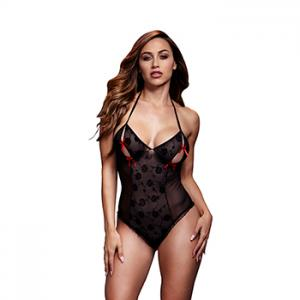 Baci - Black Lace Bodysuit & Bra Slits Red Bow One Size