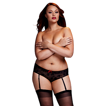 Baci - Black Rose Open Crotch Boyshort Panty Queen Size