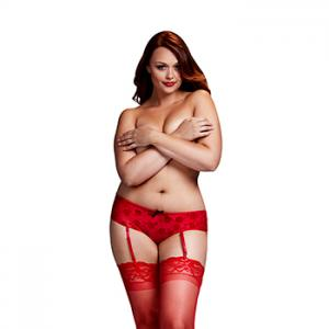 Baci - Red Rose Open Crotch Boyshort Panty Queen Size