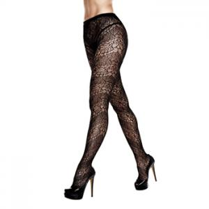 Baci - Floral Lace Pantyhose One Size