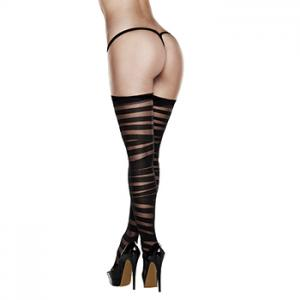 Baci - Criss Cross Sheer And Opaque Thigh Highs with Silicone Stay Up Queen