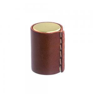 Läderknopp Mässingsfärg Cognac