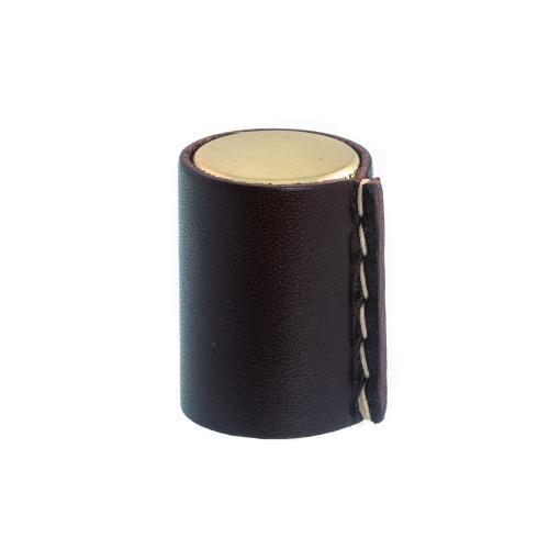 Läderknopp Mässingsfärg Brunt läder