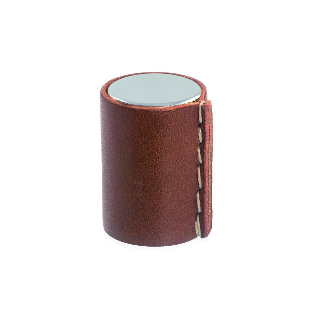 Läderknopp Blank krom Cognac