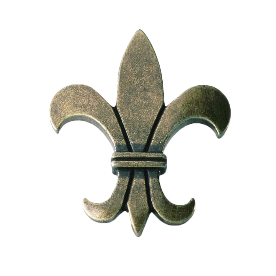 Knopp Fransk lilja Metall Gammal antik
