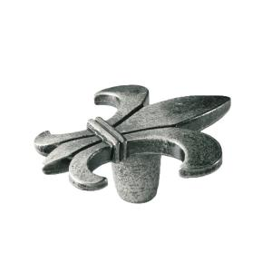 Knopp Fransk Lilja Metall Svart antik