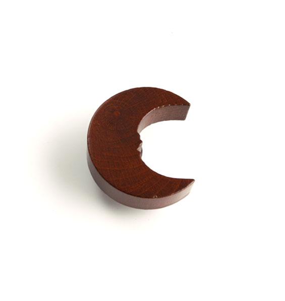 Träknopp Måne figursågad knopp Brun