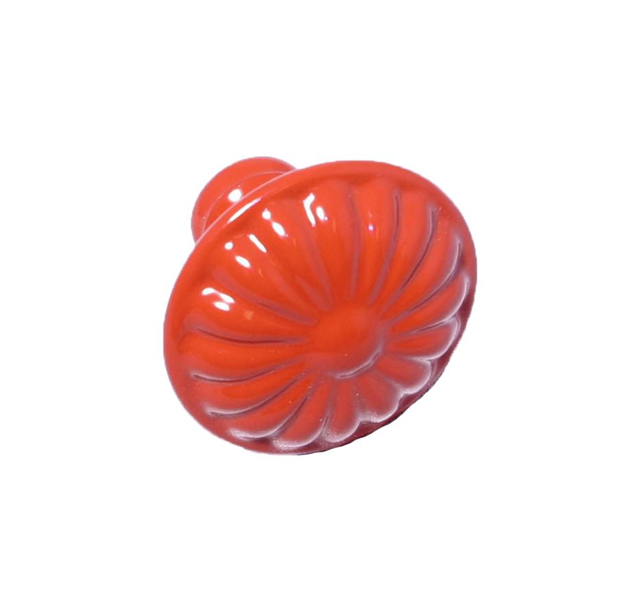 Rund retroknopp Röd Blomma i metall