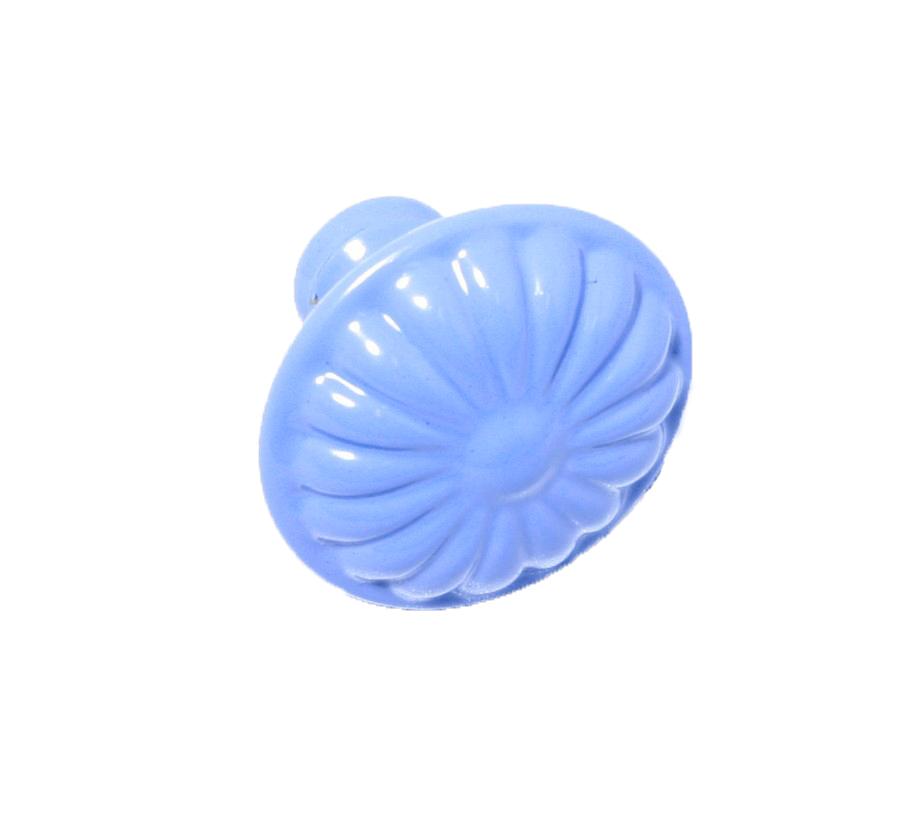 Rund retroknopp Duvblå Blomma i metall