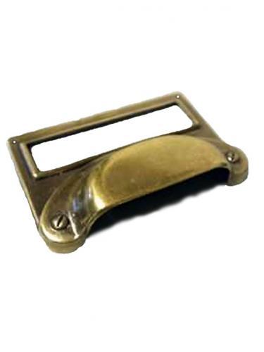 Etikettskylt Skålhandtag Möbelbeslag Metall Antik