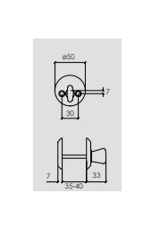 WC-beslag Matt krom Innerdörr