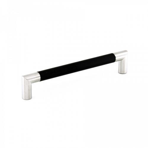 Handtag Metall Rostfri look & Svart soft