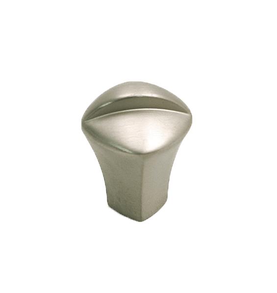 Liten knopp Metall Matt nickel med dekorativ fåra