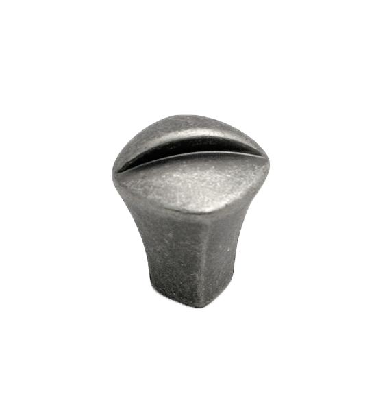 Liten knopp Metall Svart antik med dekorativ fåra