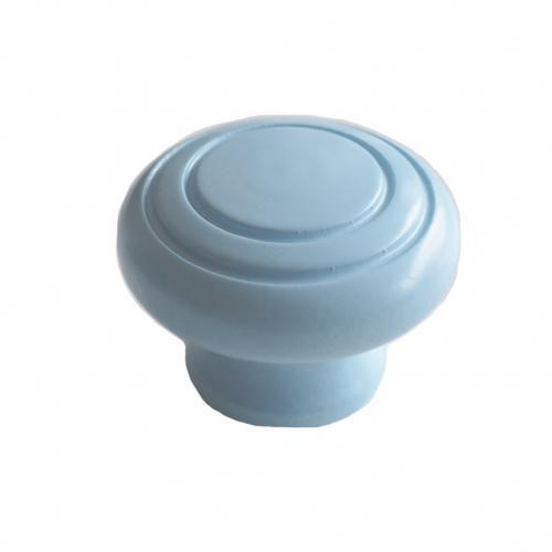 Blå köksknopp i trä, rund form.