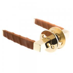 Dörrhandtag Läder Mässing Cognac Innerdörrar