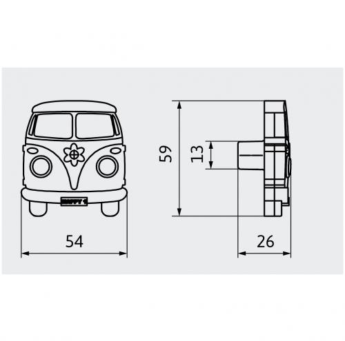 Hippiebuss Folkabuss Van Barnrum Gummiknopp
