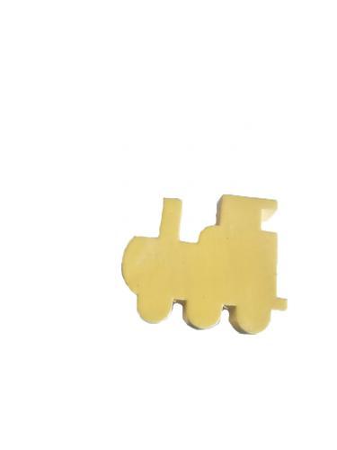 Träknopp Lok Figursågad knopp Lysande gul