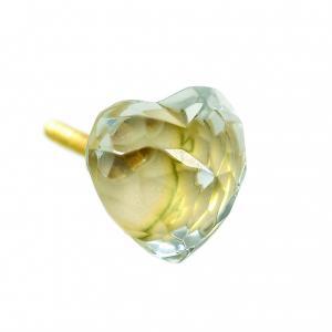 Knopp Hjärta Diamantslipad Transparent akryl