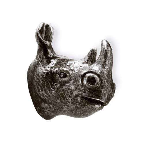Knopp Krok Noshörning Tropiska djur Svart antik