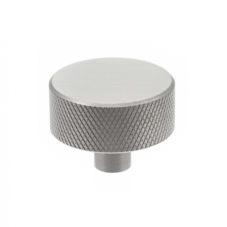 metallknopp industriell design, rund, räfflat utseende