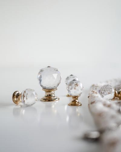 Kristallknopp Swarovski Guldpläterad