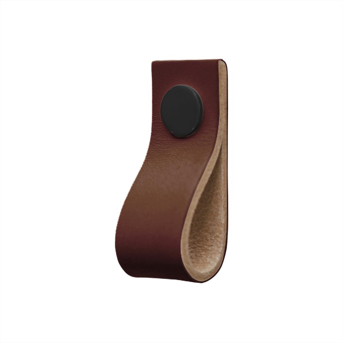 "Läderloop Brun & Svart Läder knopp (""Läderflärp"")"