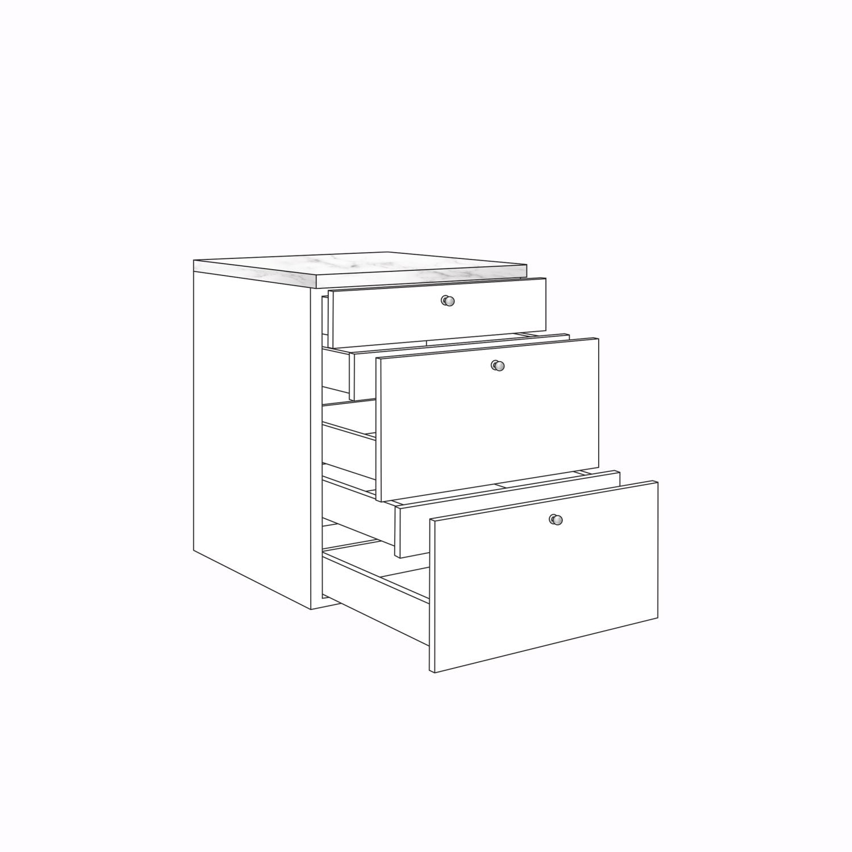 Måttbeställda Kökslådor Mjukstängande 3 lådor + 2 invändiga lådor