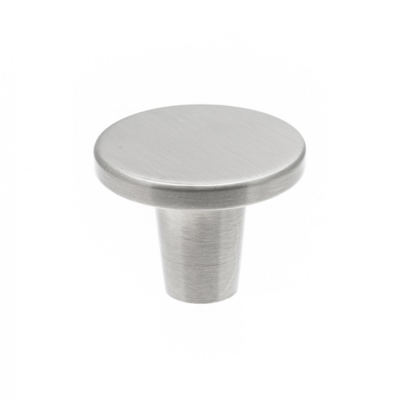 modern köksknopp i rostfri metall, rund form och platt design