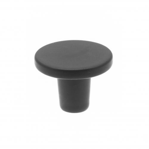 modern köksknopp i svart metall, rund och platt,