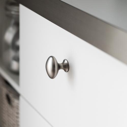 Oval knopp Matt krom Metall Lantlig design