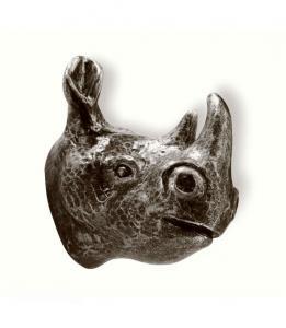 Knopp Krok Noshörning Tropiska djup Svart antik