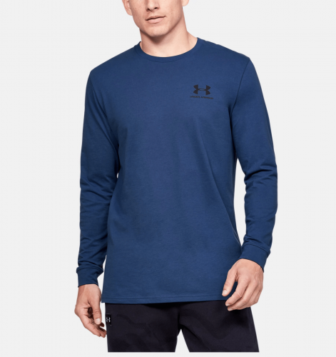 UNDER ARMOUR: SPORTSTYLE LEFT CHEST LÅNGÄRMAD TRÖJA - BLÅ