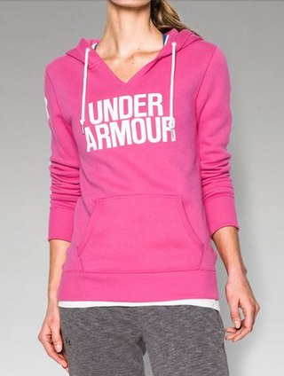 UNDER ARMOUR: WOMENS FAVORITE FLEECE HOODIE- ROSA