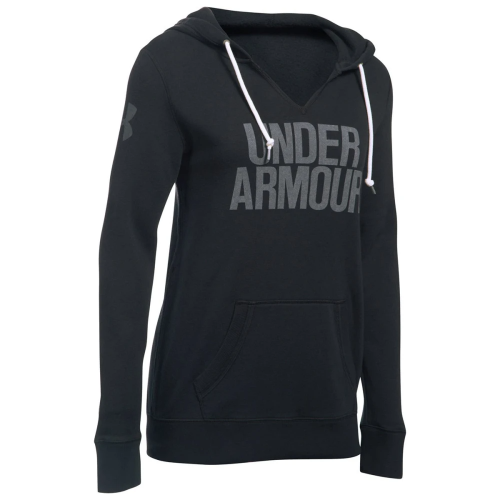 UNDER ARMOUR: WOMENS FAVORITE FLEECE HOODIE- SVART
