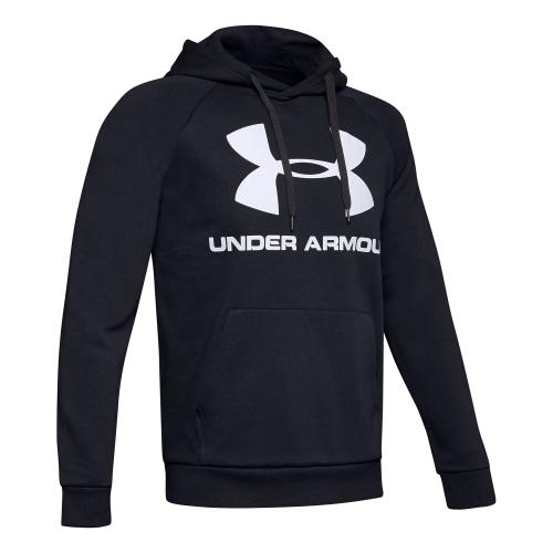 UNDER ARMOUR: RIVAL FLEECE LOGO HOODIE - SVART