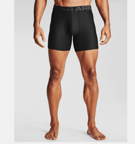 "UNDER ARMOUR: MENS UA TECH 6"" BOXERSHORTS 2-PACK - SVART"