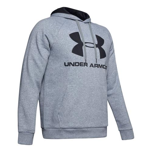 UNDER ARMOUR: RIVAL FLEECE LOGO HOODIE - GRÅ