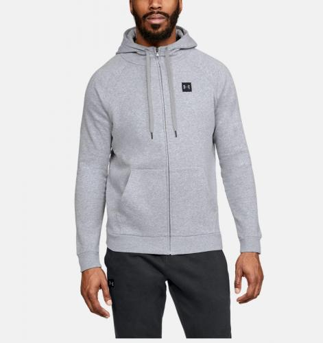UNDER ARMOUR: RIVAL FLEECE FZ HOODIE - GRÅ