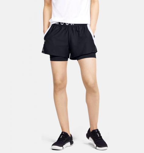 UNDER ARMOUR: PLAY UP 2 IN 1 SHORTS - SVART