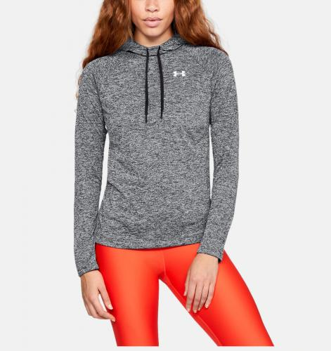 UNDER ARMOUR: WOMENS TECH HOODY 2.0 TWIST - GRÅ/SVART