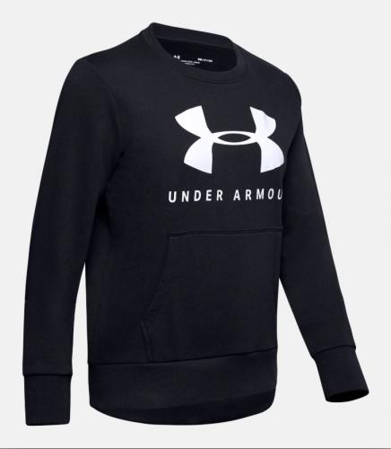 UNDER ARMOUR: 12.1 RIVAL FLEECE SPORTSTYLE CREW TRÖJA - SVART